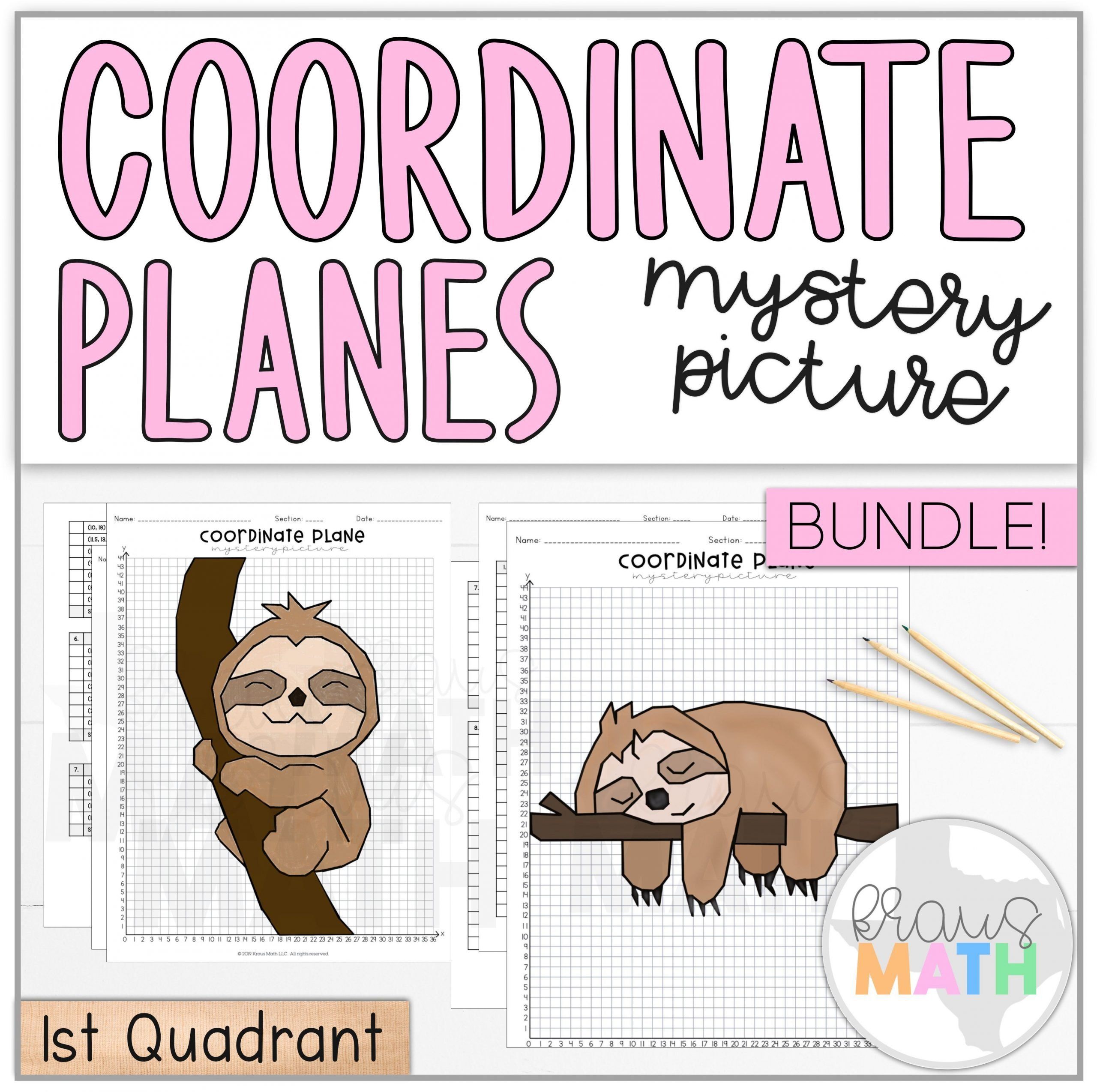 Fun Coordinate Plane Worksheets Cute Sloth Coordinate Plane Mystery Picture Bundle 1st