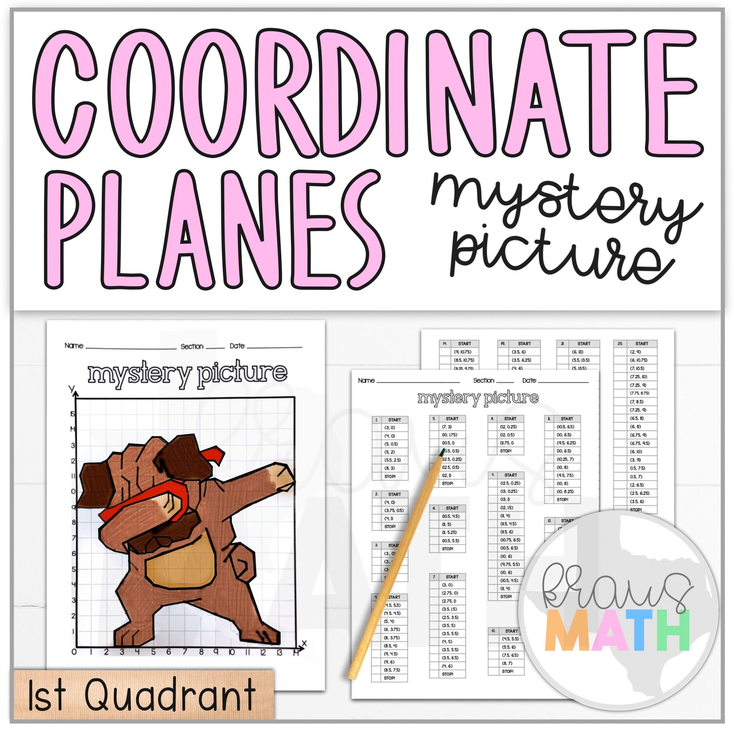 Fun Coordinate Plane Worksheets Pug Dab Coordinate Plane Mystery Picture 1st Quadrant