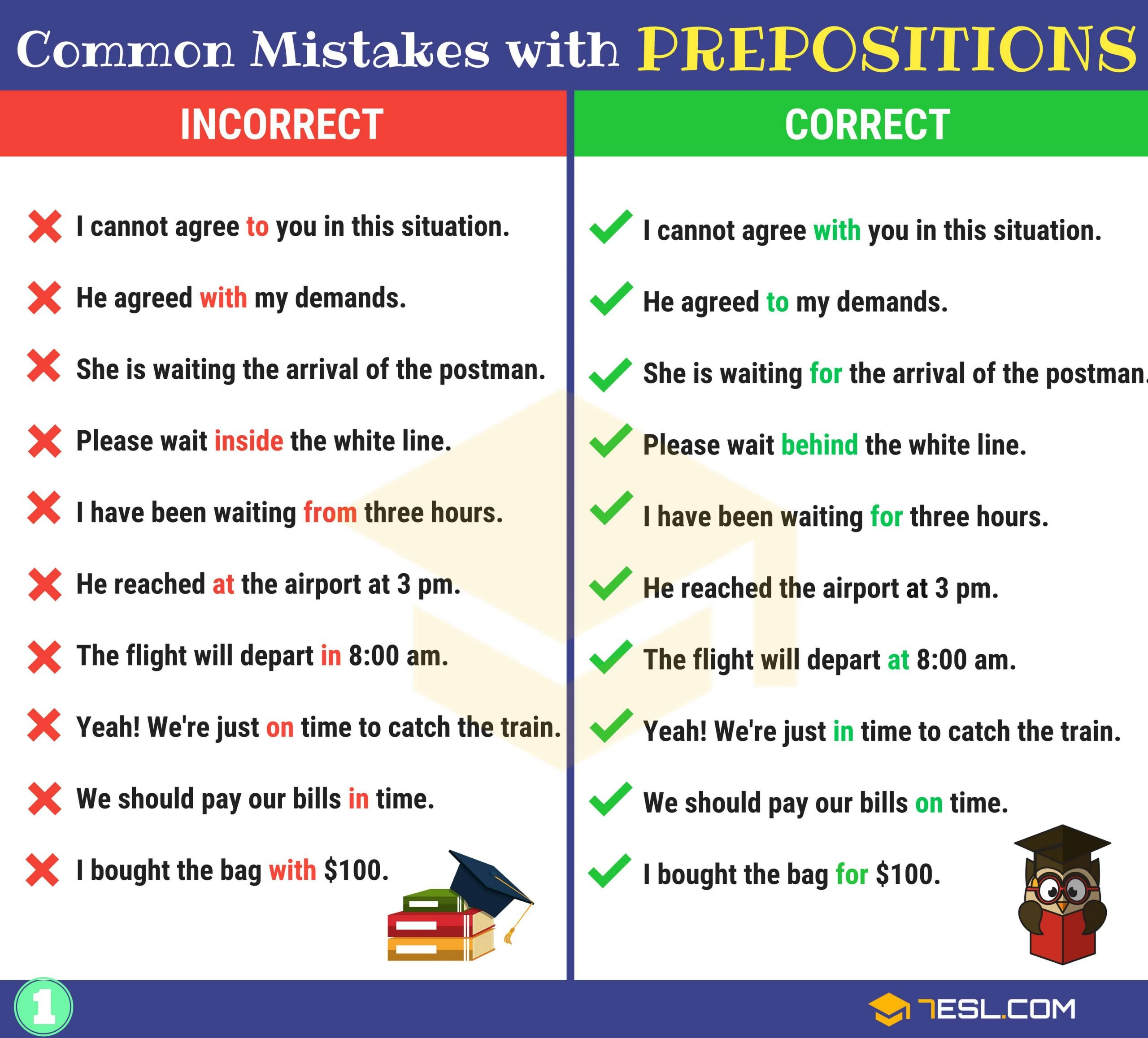 Funny Comma Mistakes Worksheets Preposition Errors 130 Mon Mistakes with Prepositions