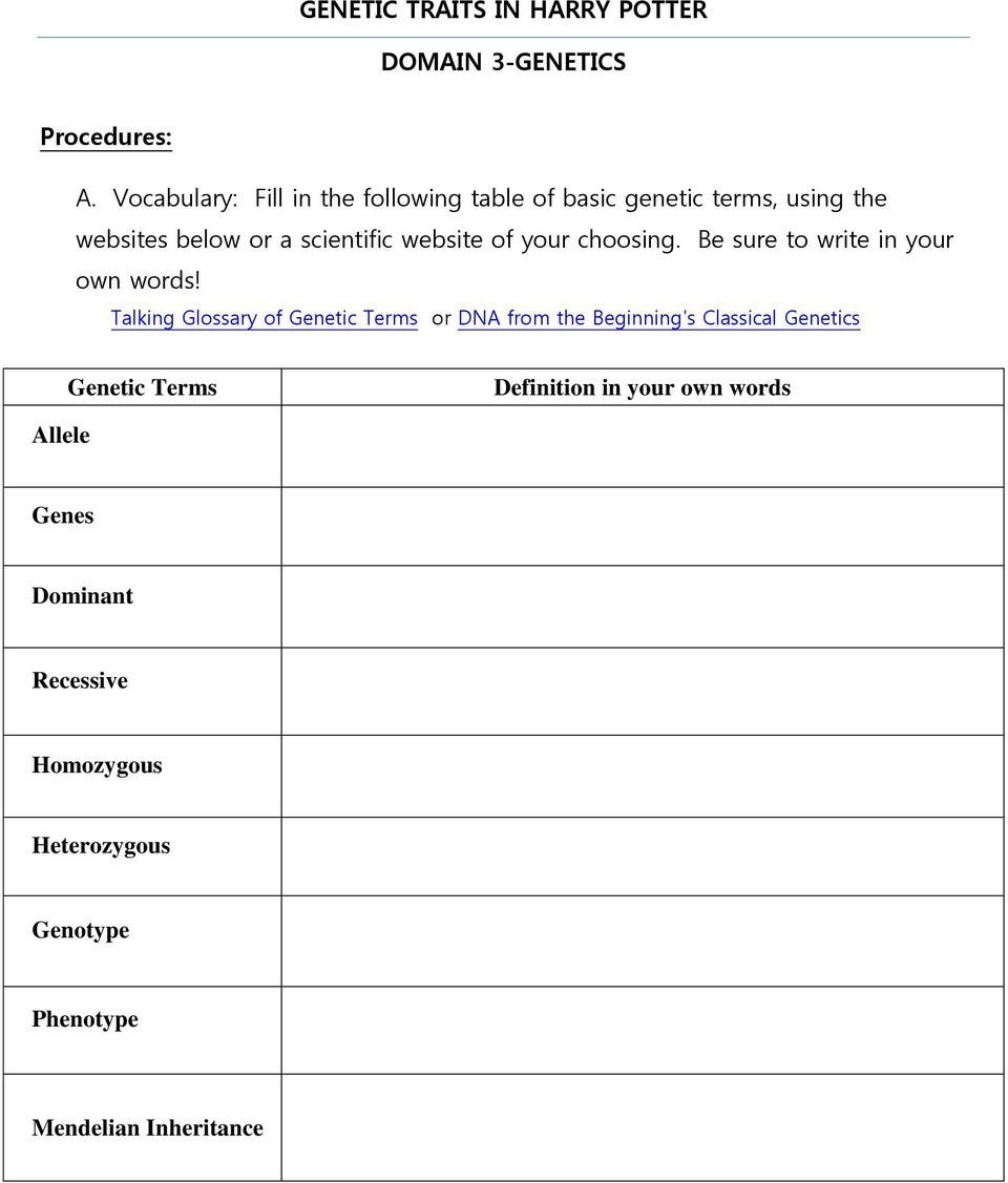 Genetic Traits Worksheet Genetic Traits In Harry Potter Domain 3 Genetics Pdf Free