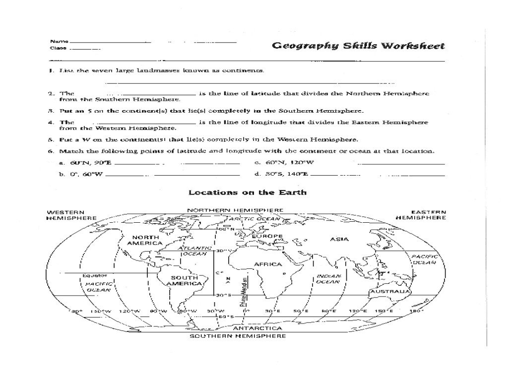 Geography Worksheets Middle School Pdf 8th Grade Map Skills Worksheets