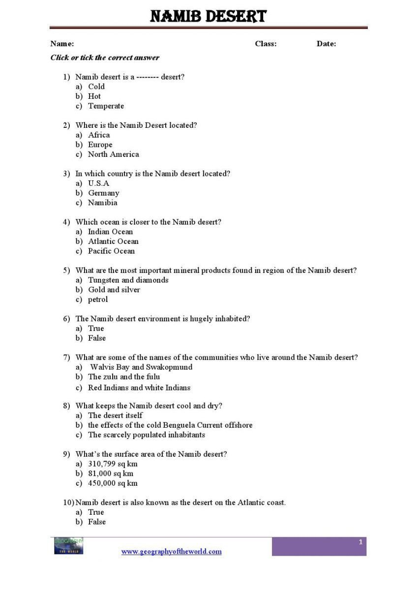 Geography Worksheets Middle School Pdf Namib Dersert Printable Worksheet Pdf Lessons