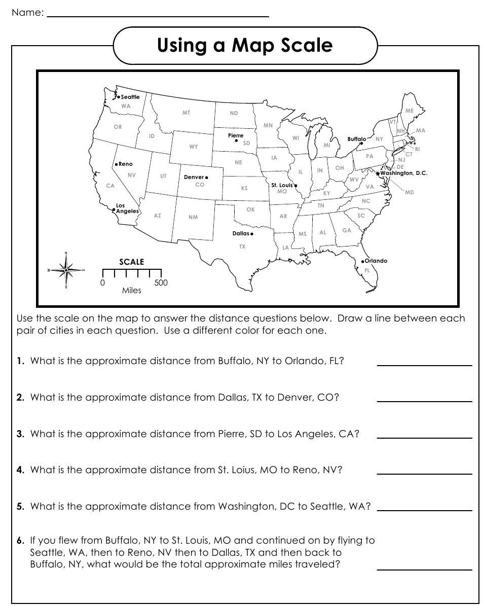 Geography Worksheets Middle School Pdf Using A Map Scale Worksheets