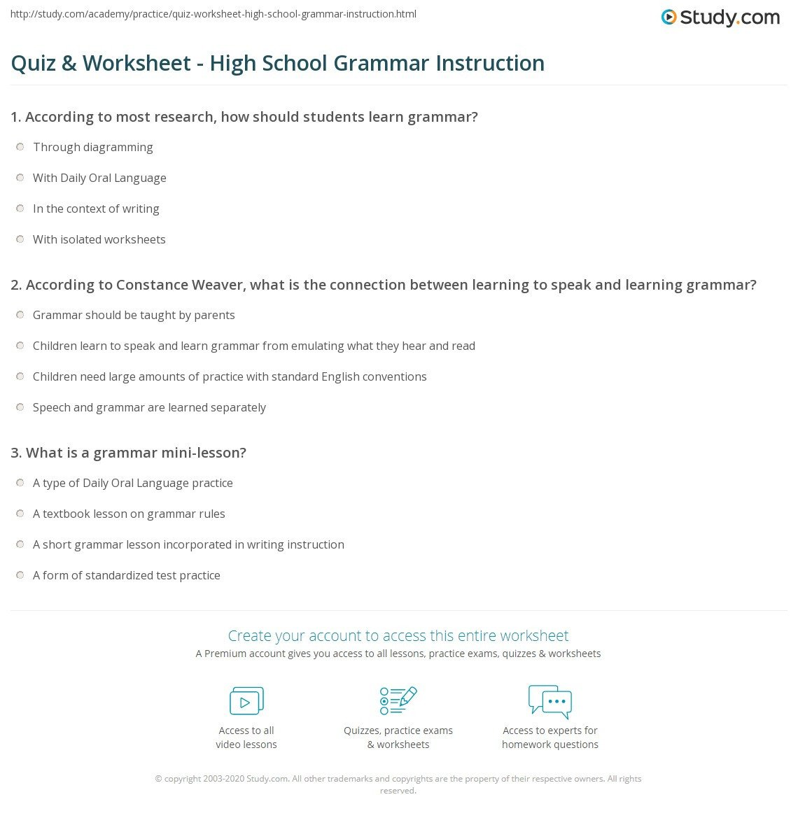 Grammar Worksheets High School Quiz & Worksheet High School Grammar Instruction