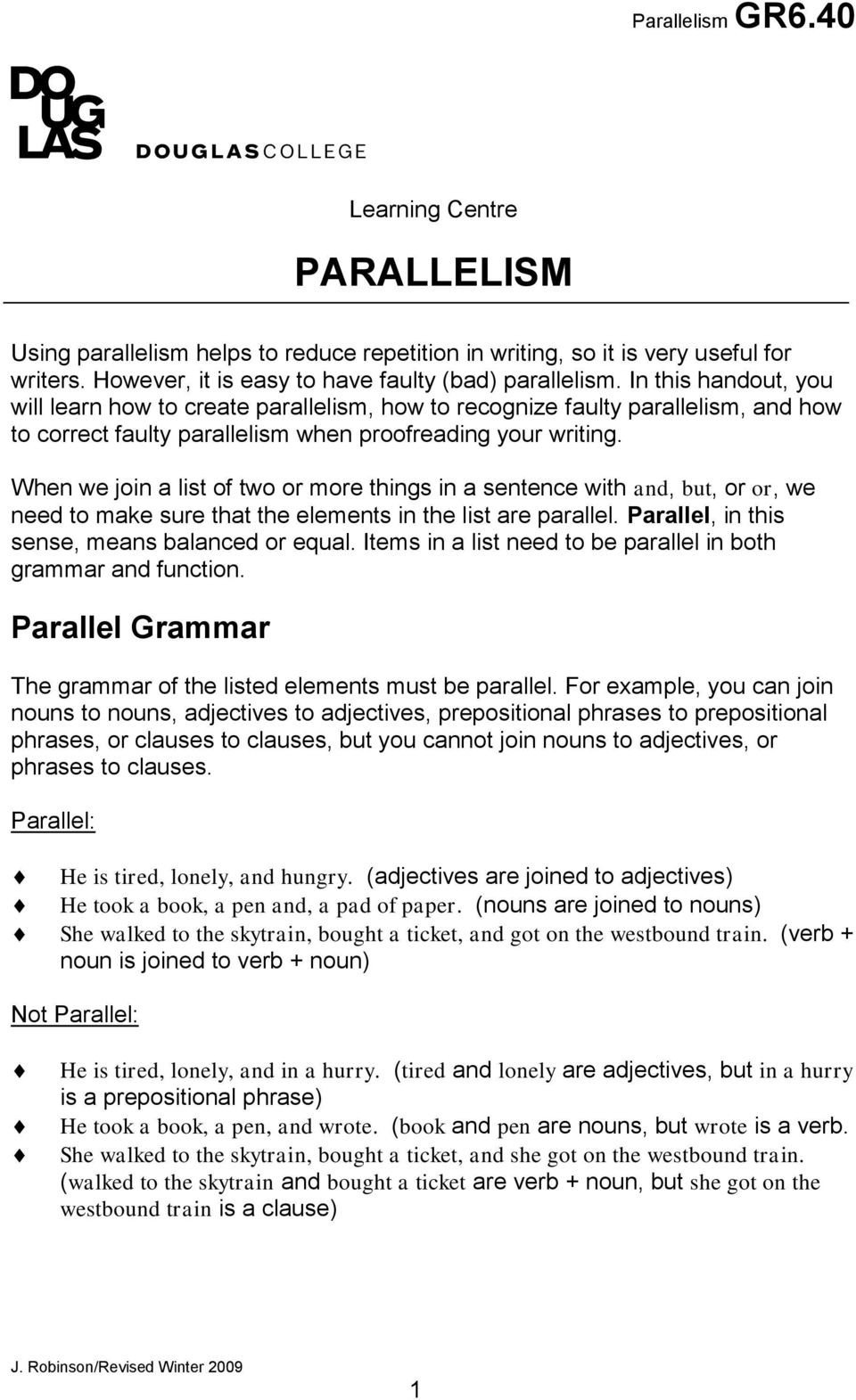 Grammar Worksheets Parallelism Answers Learning Centre Parallelism Pdf Free Download