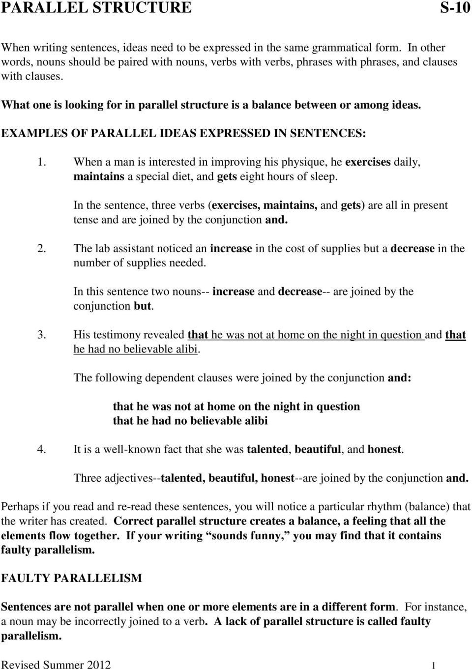 Grammar Worksheets Parallelism Answers Parallel Structure S 10 Pdf Free Download