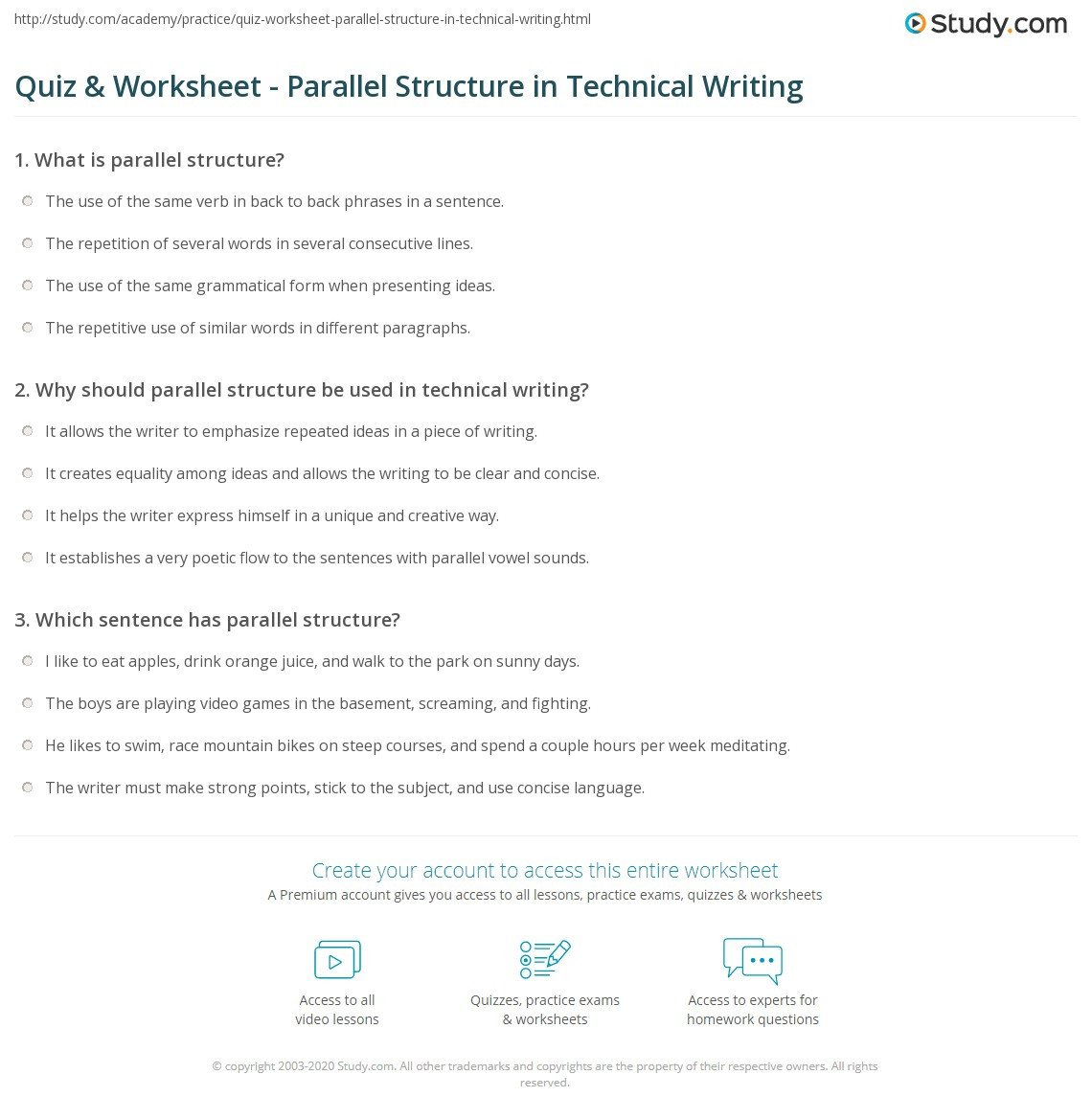 Grammar Worksheets Parallelism Answers Parallelism Worksheet