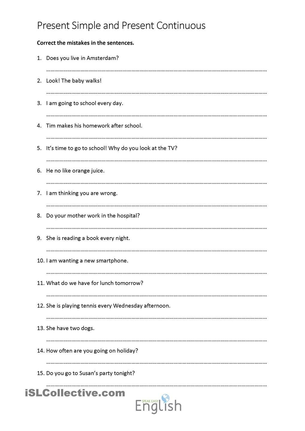Grammatical Error Worksheets Present Simple Continuous Error Correction with Answers