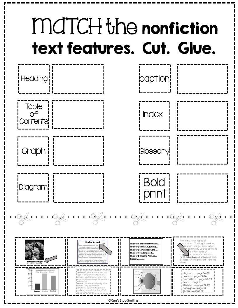 Graphic sources Worksheet Nonfiction Text Features Matching Activity Free
