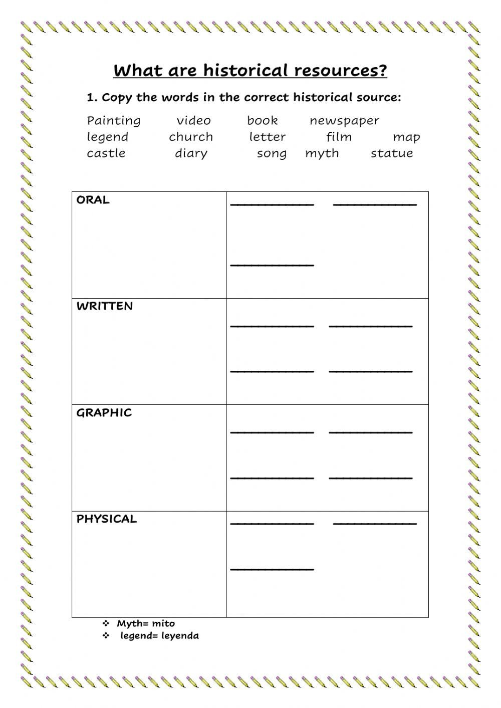 Graphic sources Worksheets Historical Resources Interactive Worksheet