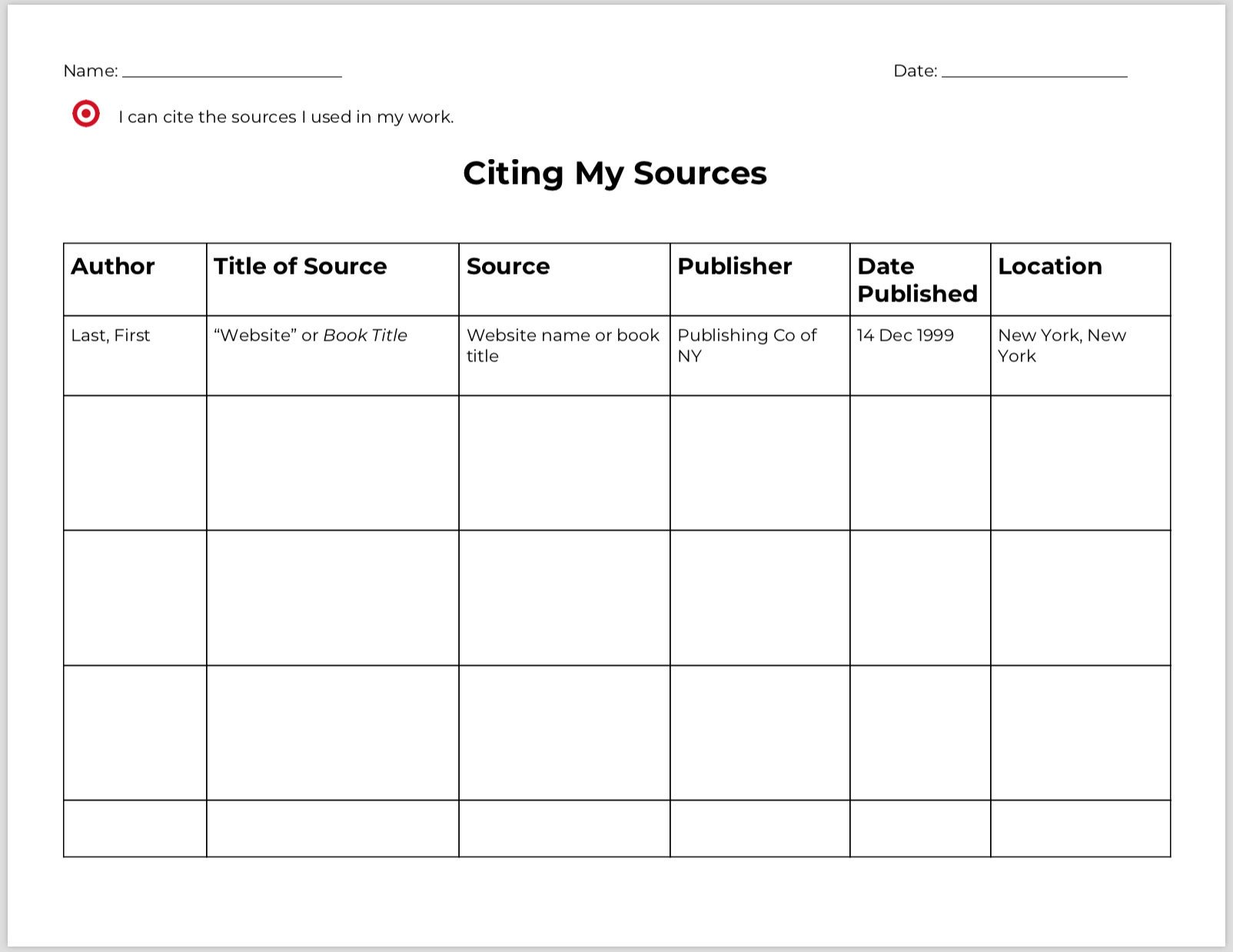 Graphic sources Worksheets New This Week Research Process Graphic organizers