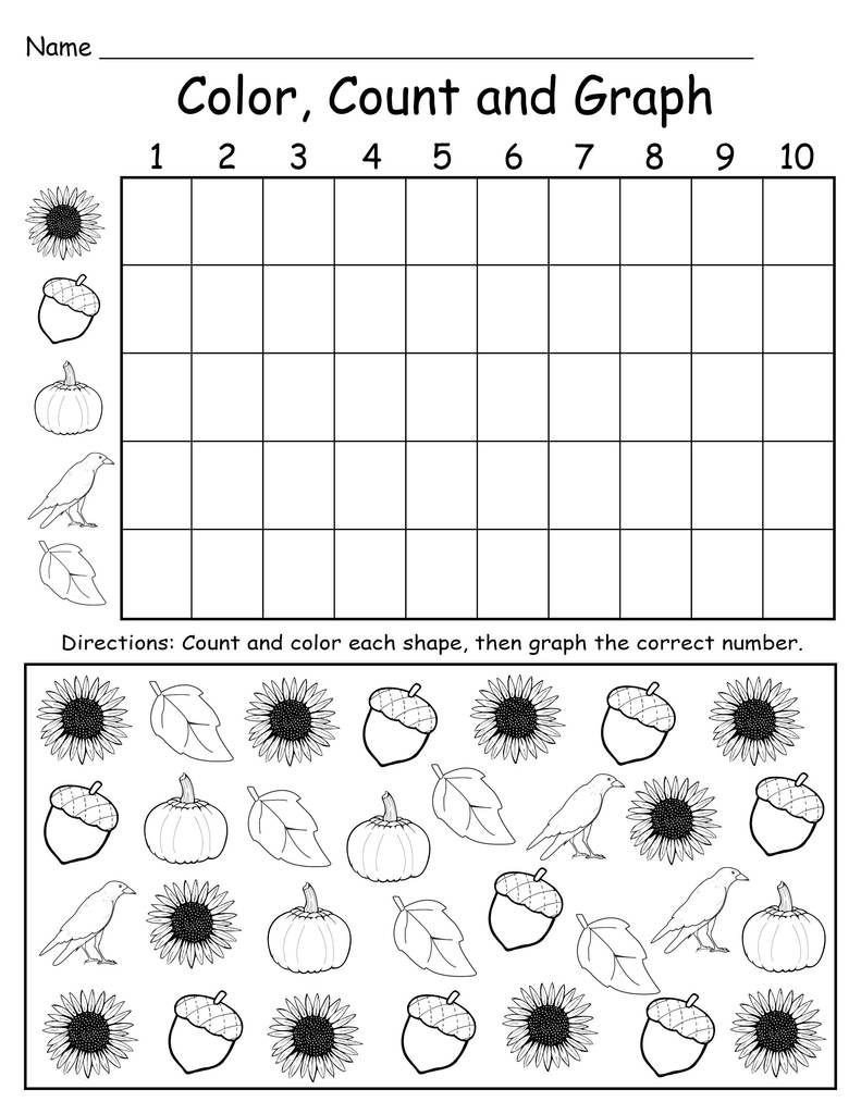 Graphing Worksheets Kindergarten Printable Fall themed Color Count and Graph Worksheet