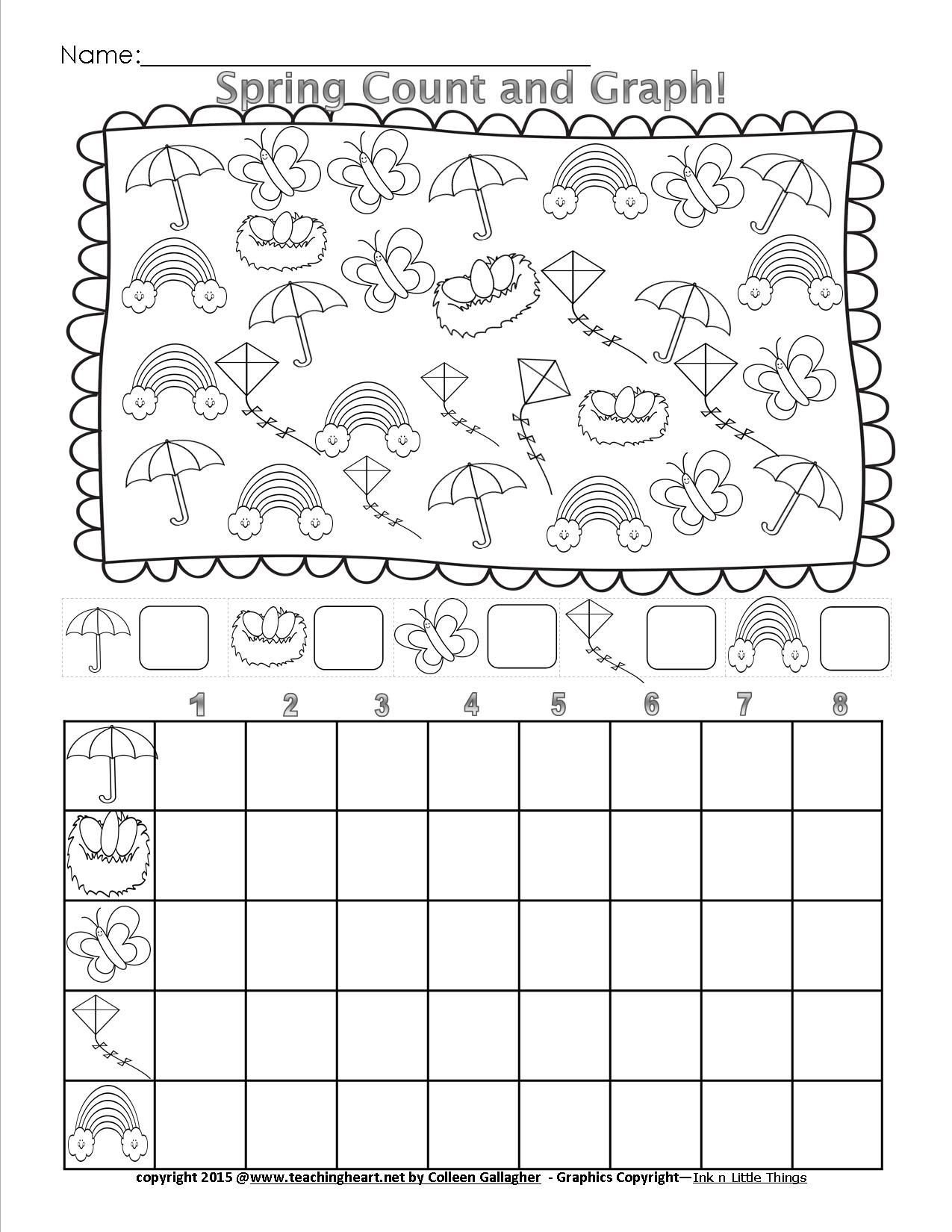 Graphing Worksheets Kindergarten Spring Count and Graph Free Teaching Heart Blog