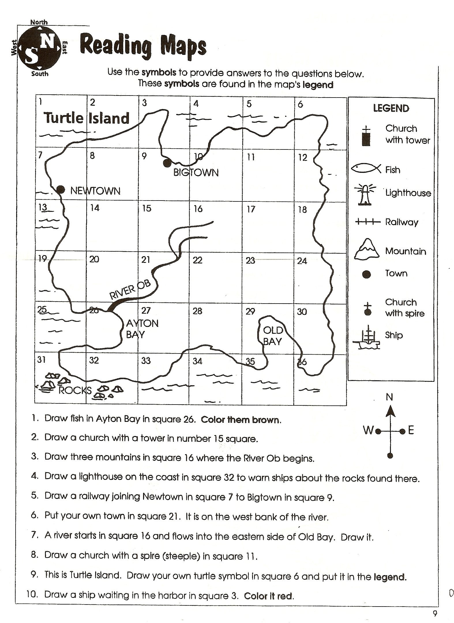 Grid Map Worksheets Grade 2 10 Best Creating Map Symbols Images