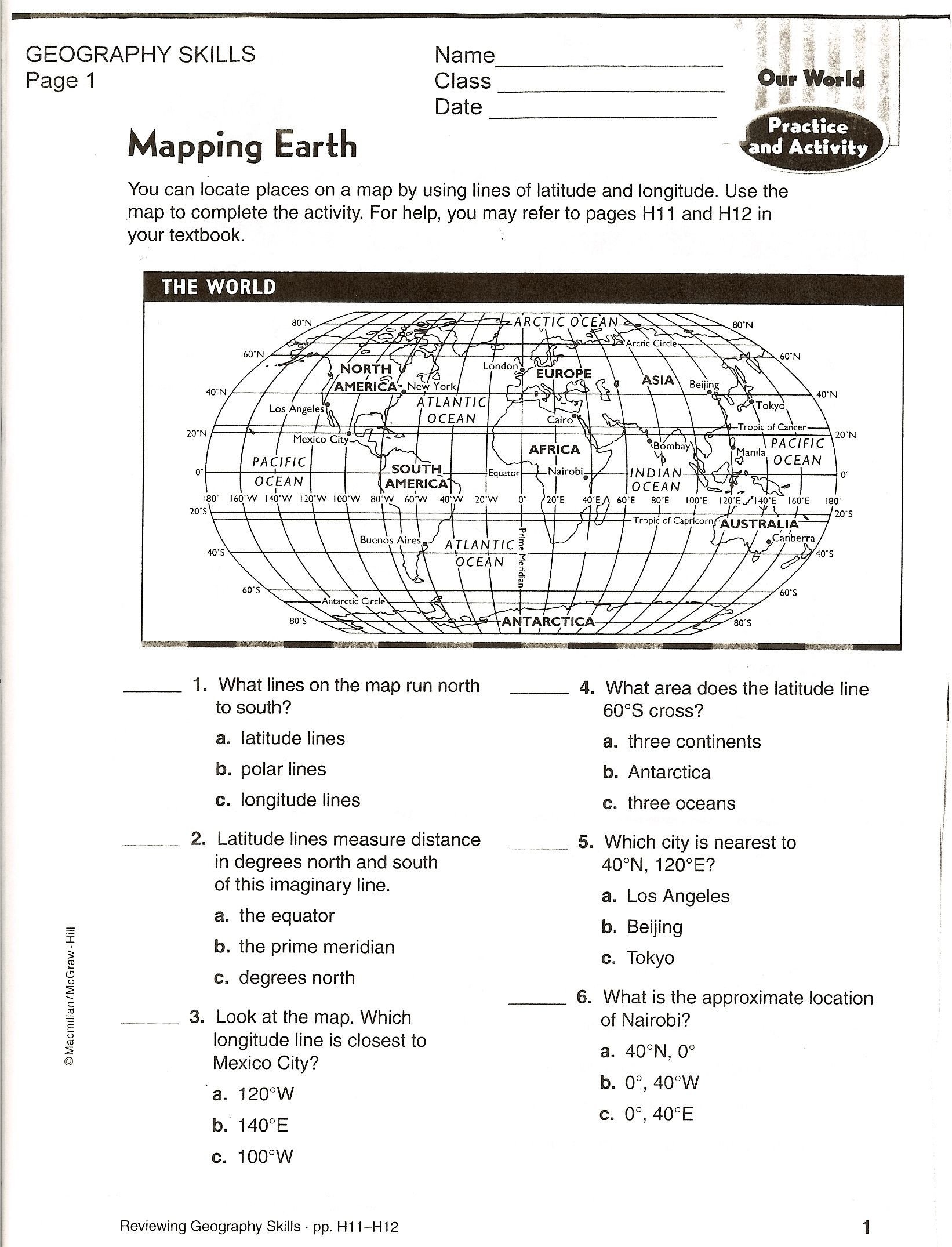 Grid Map Worksheets Grade 2 Map Skills Test Pdf
