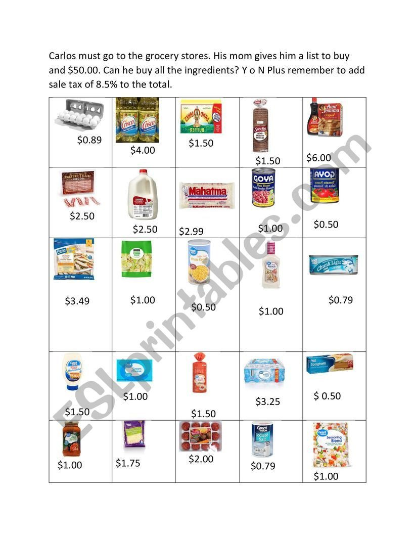 Grocery Shopping Math Worksheets Going to the Grocery Store Math Esl Worksheet by Teacher