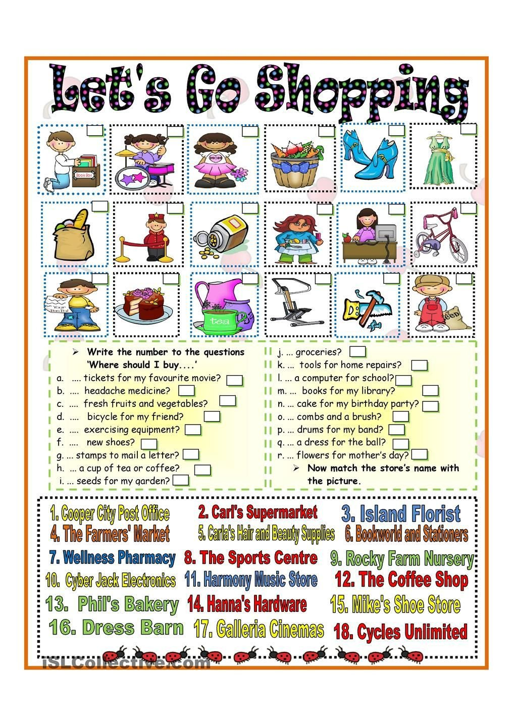 Grocery Shopping Math Worksheets Lets Go Shopping