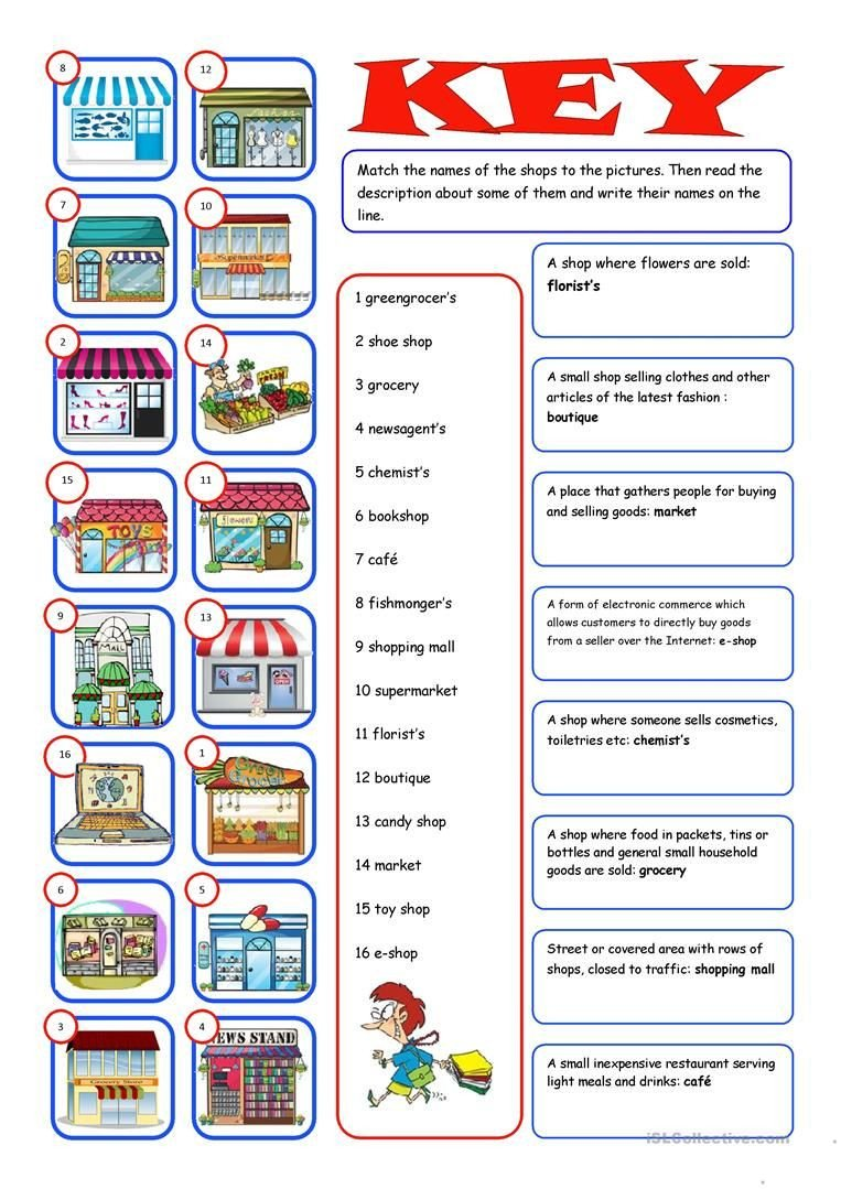 Grocery Shopping Math Worksheets Shopping Reading&matching Worksheet Free Esl Printable