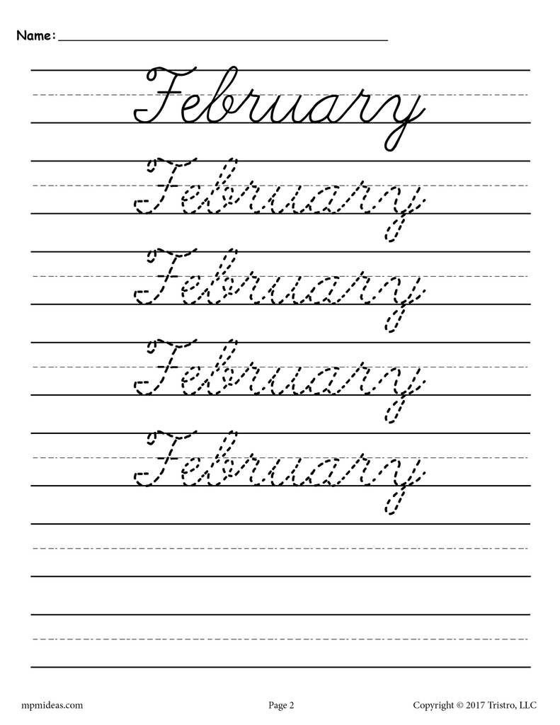 Handwriting Analysis Worksheet 12 Months Of the Year Cursive Handwriting Worksheets
