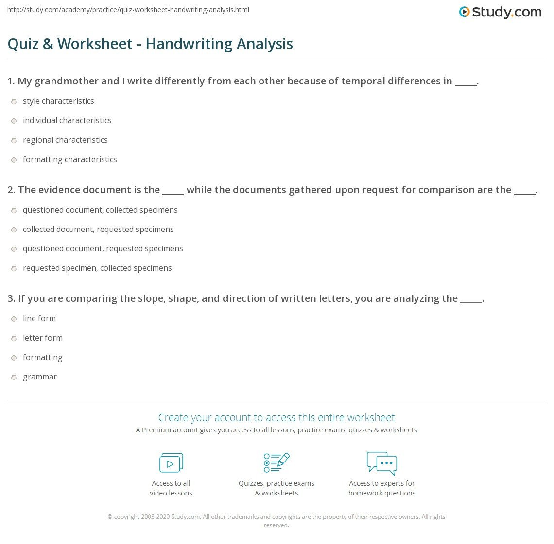 Handwriting Analysis Worksheet Quiz & Worksheet Handwriting Analysis