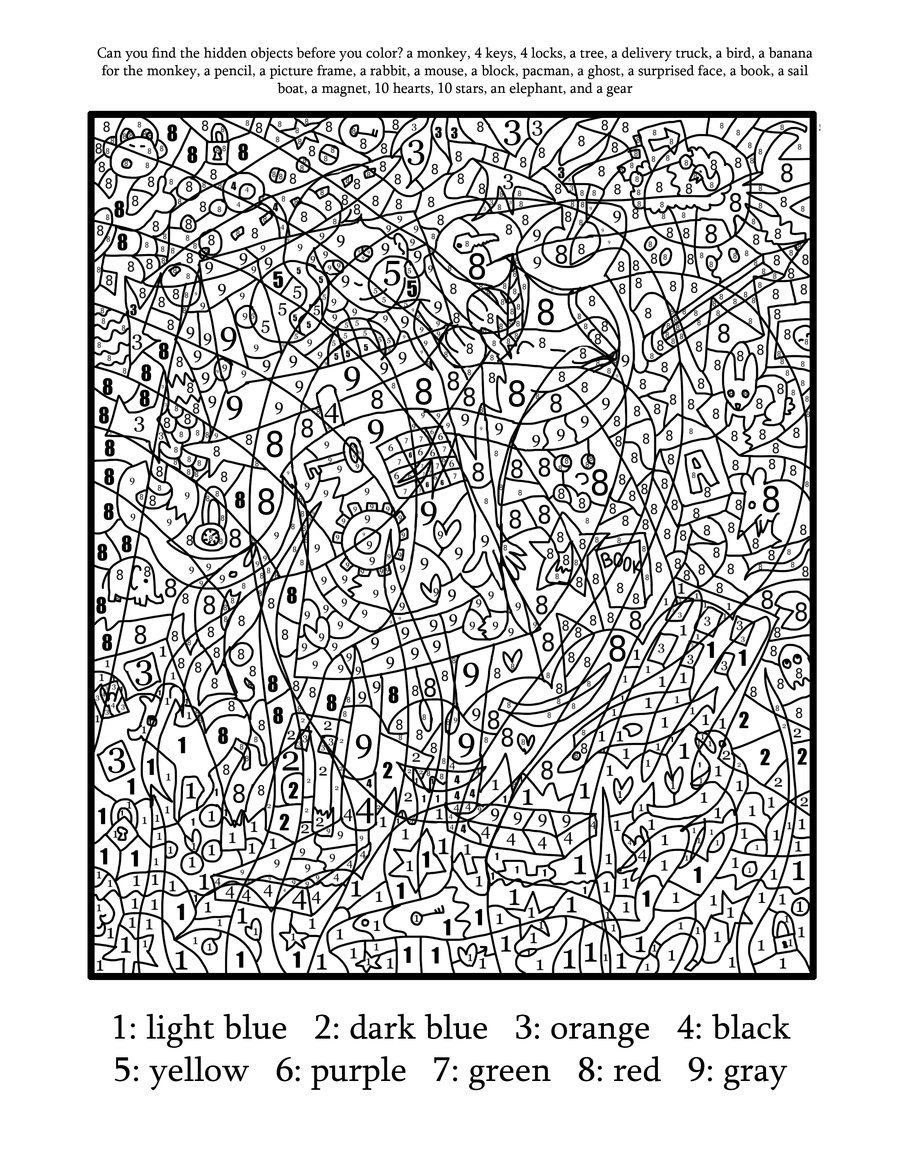 Difficult Color By Number Printables Coloring Home