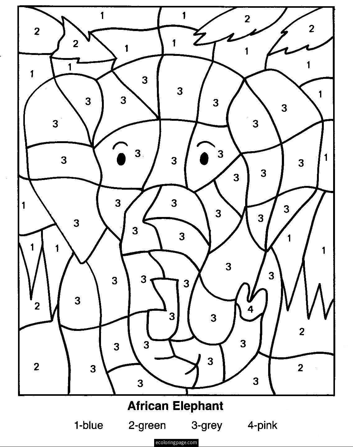 Elephant Color by Number Printable