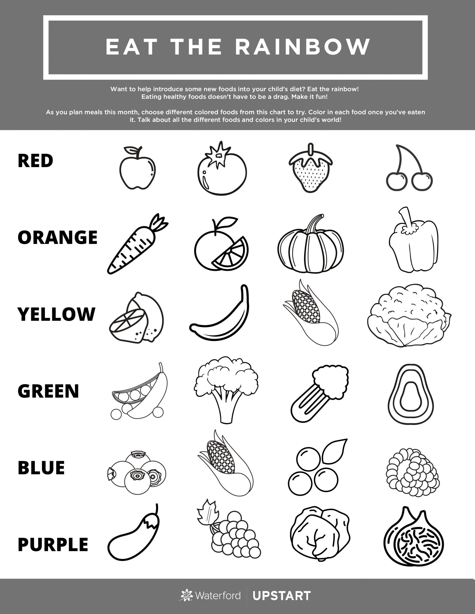 Healthy Habits for Kids Worksheets Eat the Rainbow Children S Nutrition Worksheet Waterford