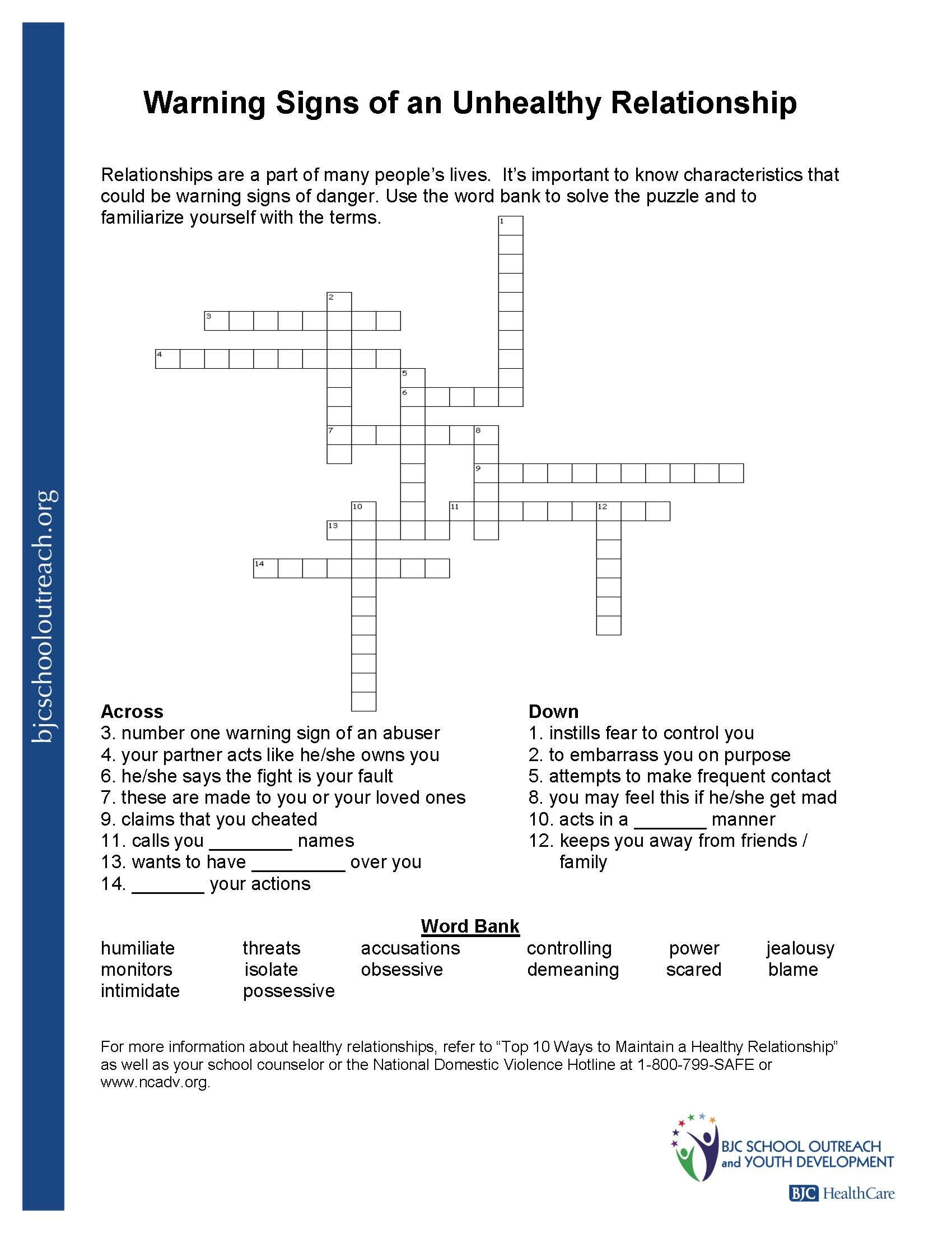 Healthy Relationships Worksheets Printable Worksheets