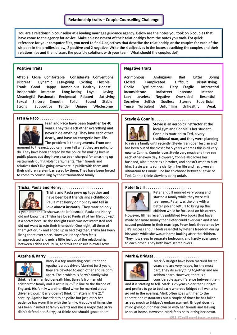 Healthy Relationships Worksheets Relationship Adjectives Couple Counselling English Esl