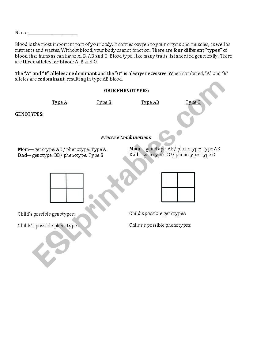 Heredity Traits Worksheets Blood Type Genetics Esl Worksheet by Rdiazladh