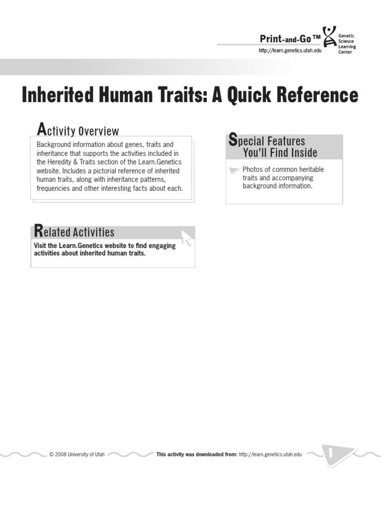 Heredity Traits Worksheets Inherited Human Traits Quick Reference Public