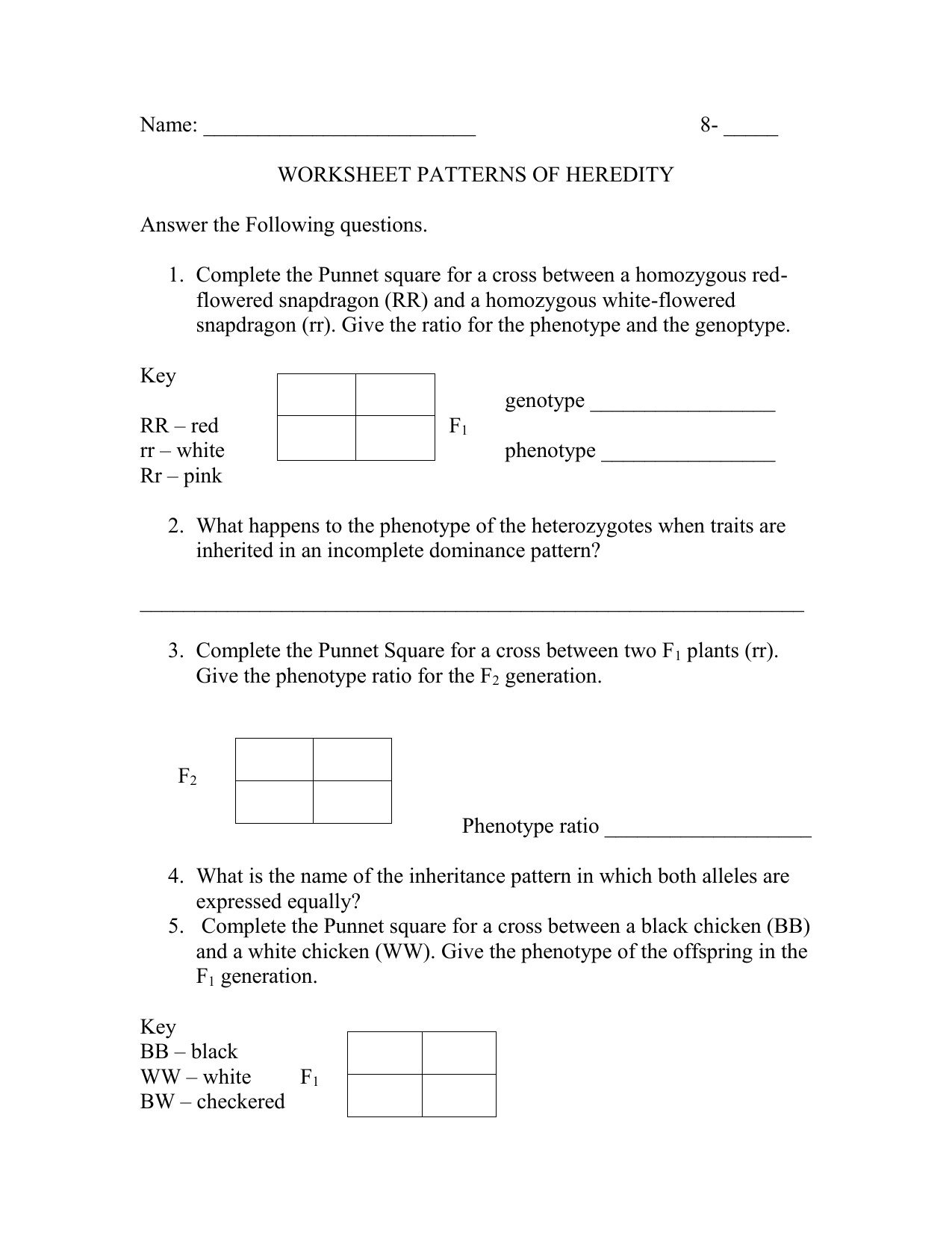 Heredity Traits Worksheets Modes Inheritance Worksheet