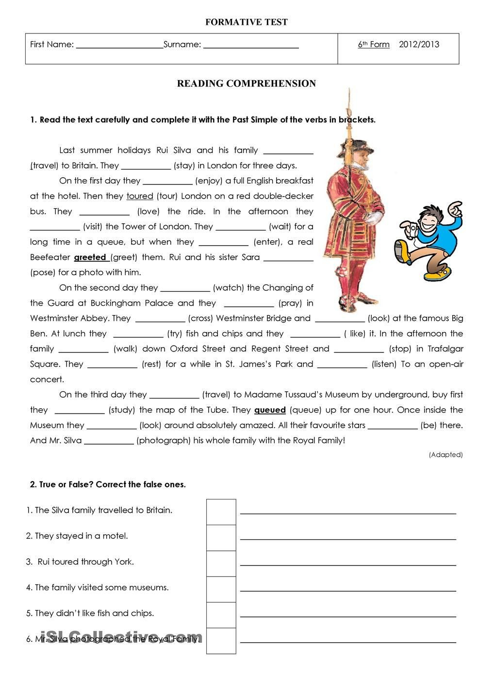 Holiday Reading Comprehension Worksheets Free Last Summer Holidays