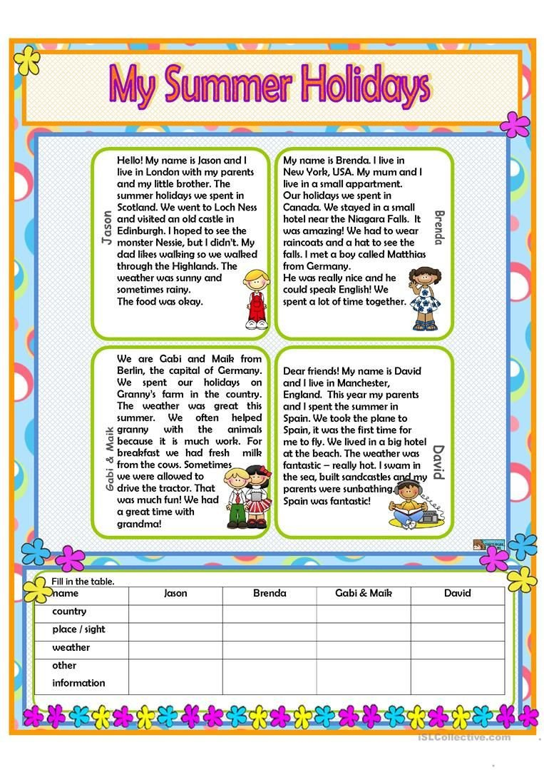 Holiday Reading Comprehension Worksheets Free My Summer Holidays