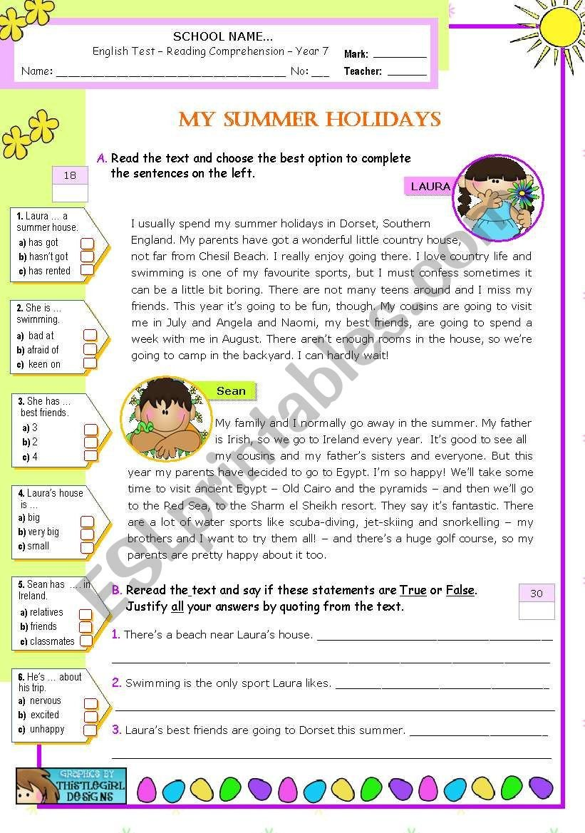 Holiday Reading Comprehension Worksheets Free My Summer Holidays Reading Prehension Esl Worksheet
