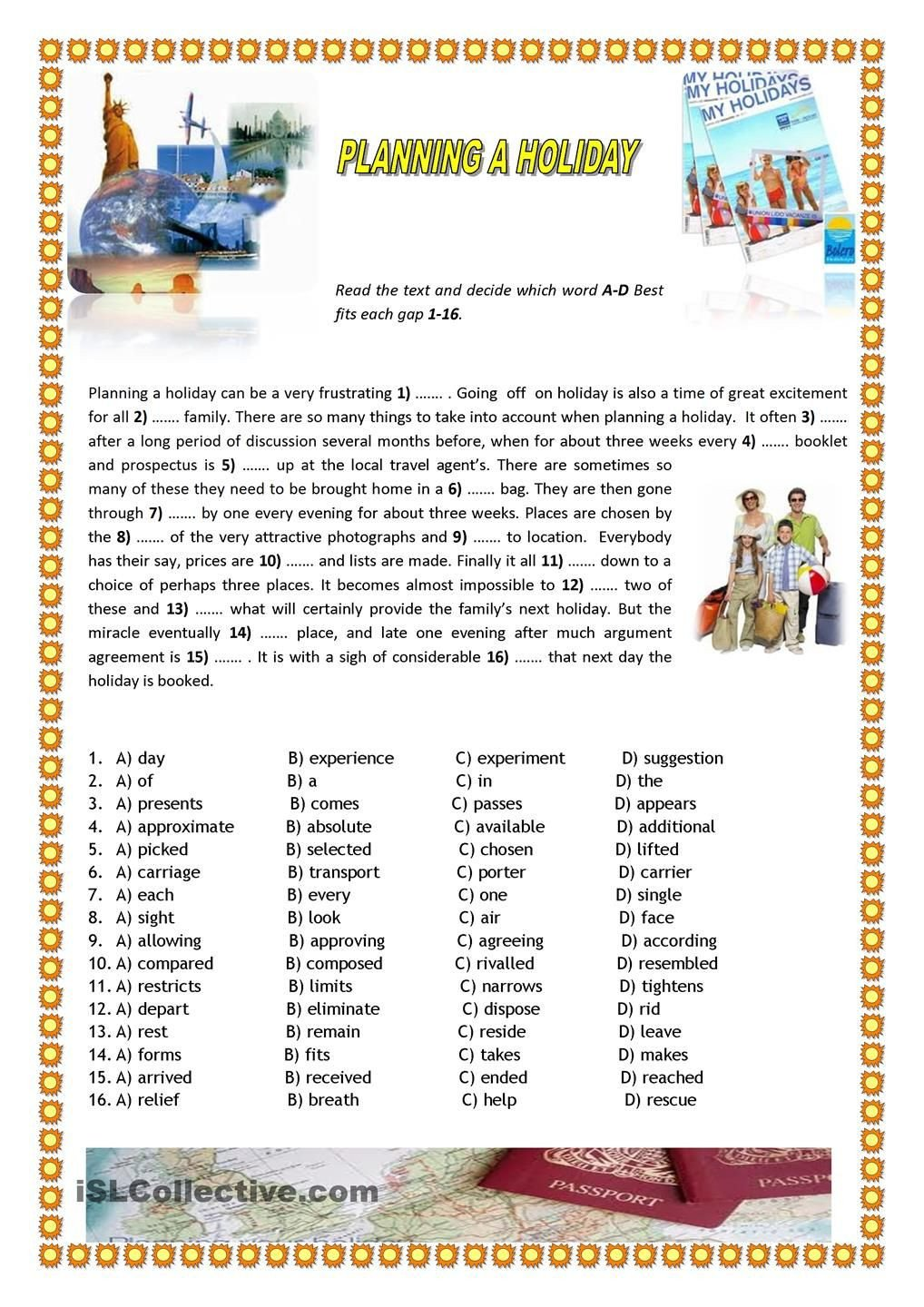 Holiday Reading Comprehension Worksheets Free Planning A Holiday