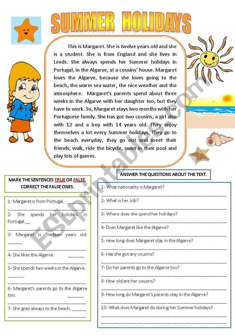 Holiday Reading Comprehension Worksheets Free Summer Holidays Reading and Prehension Esl Worksheet