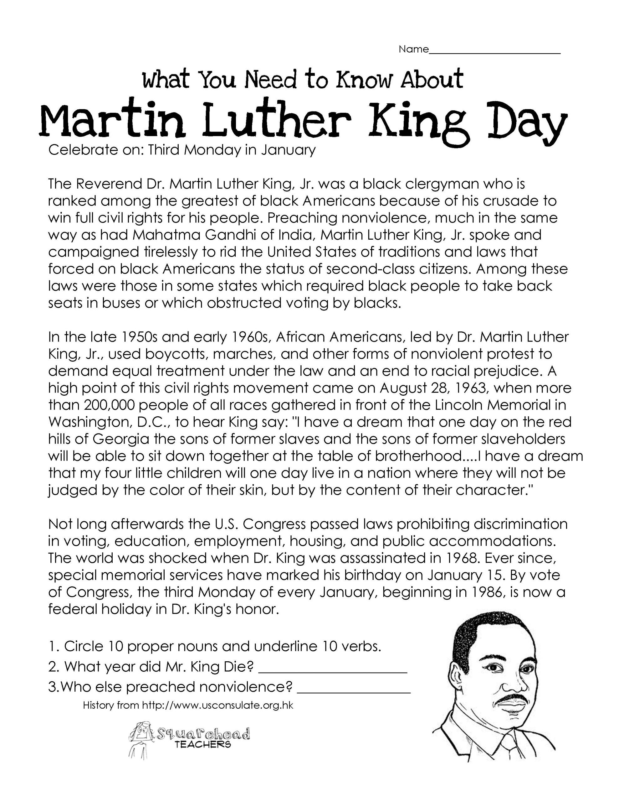 Holiday Reading Comprehension Worksheets Free This Free Worksheet About Martin Luther King Day Covers the