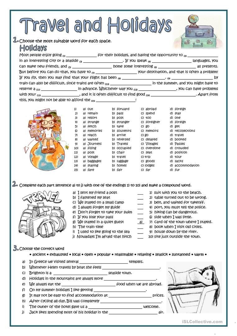 Holiday Reading Comprehension Worksheets Free Travel and Holidays Worksheet Free Esl Printable
