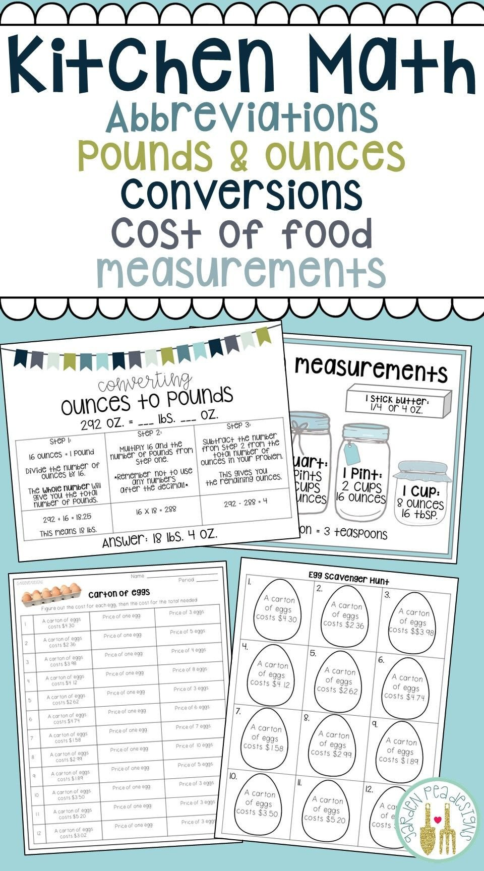Home Economics Worksheets $5 00 Teach Kitchen Abbreviations How to Convert Pounds to