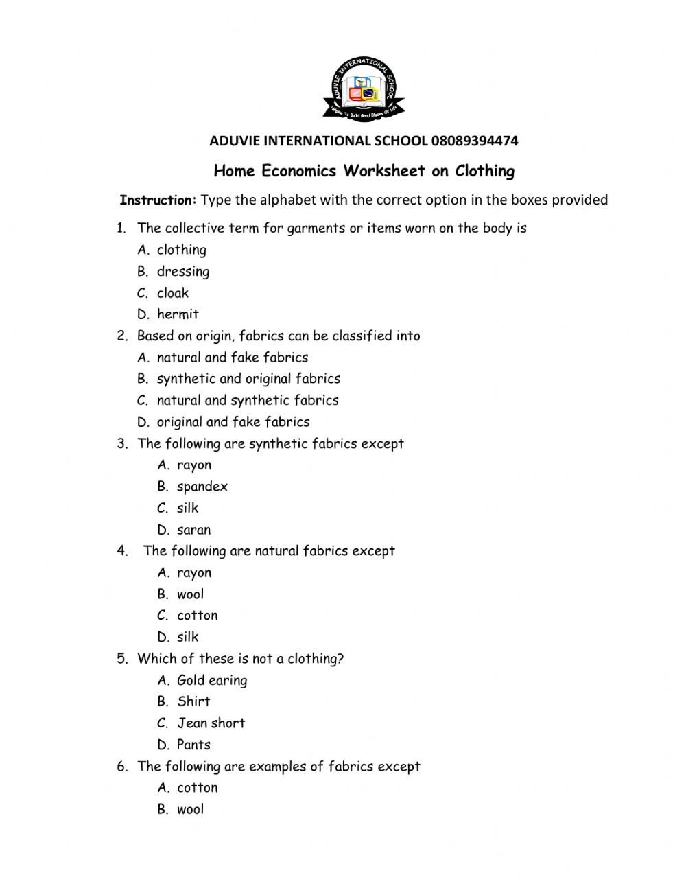 Home Economics Worksheets Clothing Interactive Worksheet