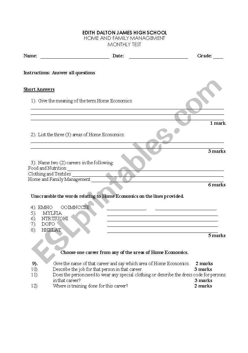 Home Economics Worksheets English Worksheets Introduction to Home Economics