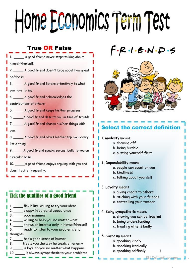 Home Economics Worksheets Friendship & Good Neighbors Test English Esl Worksheets