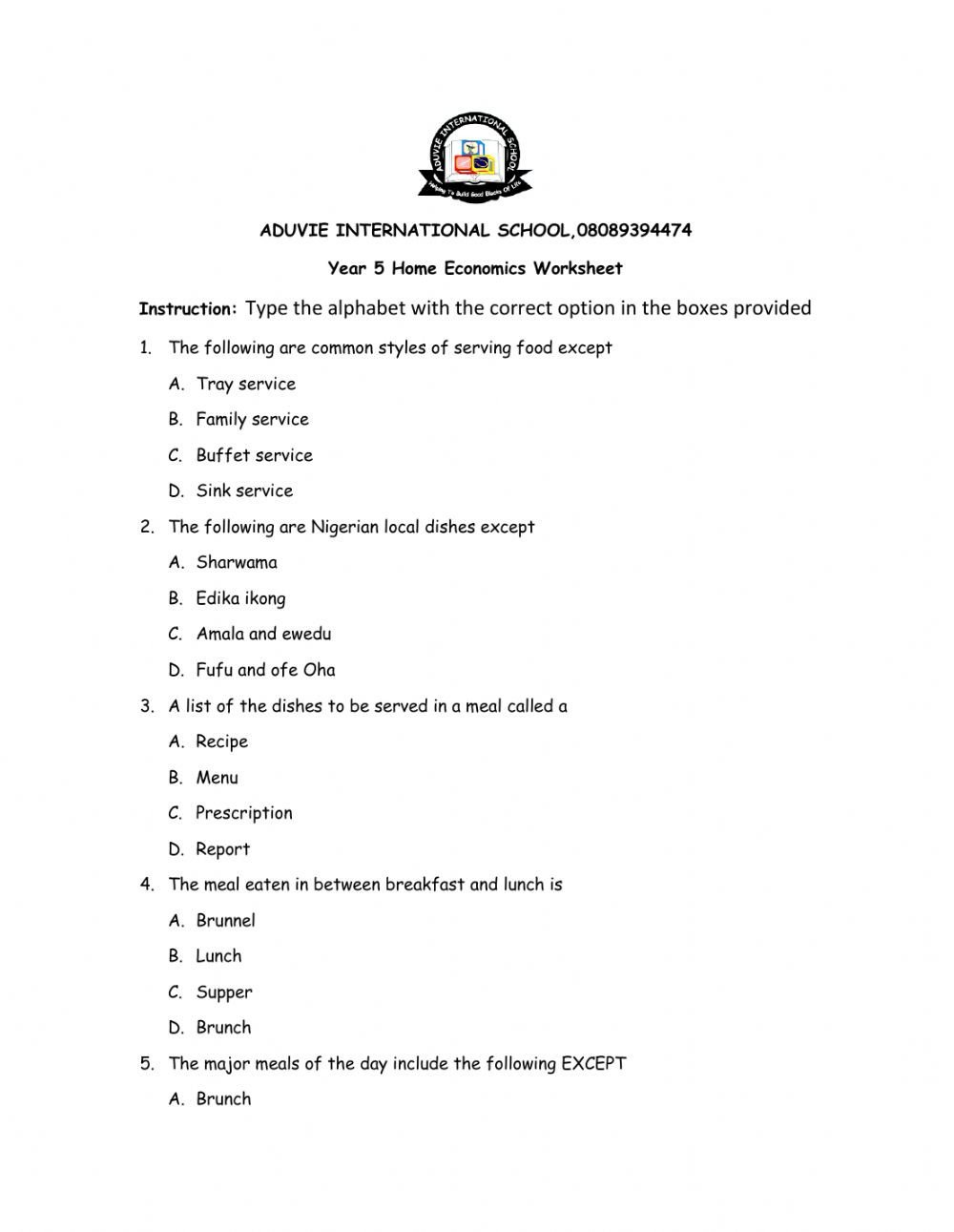 Home Economics Worksheets General Interactive Worksheet