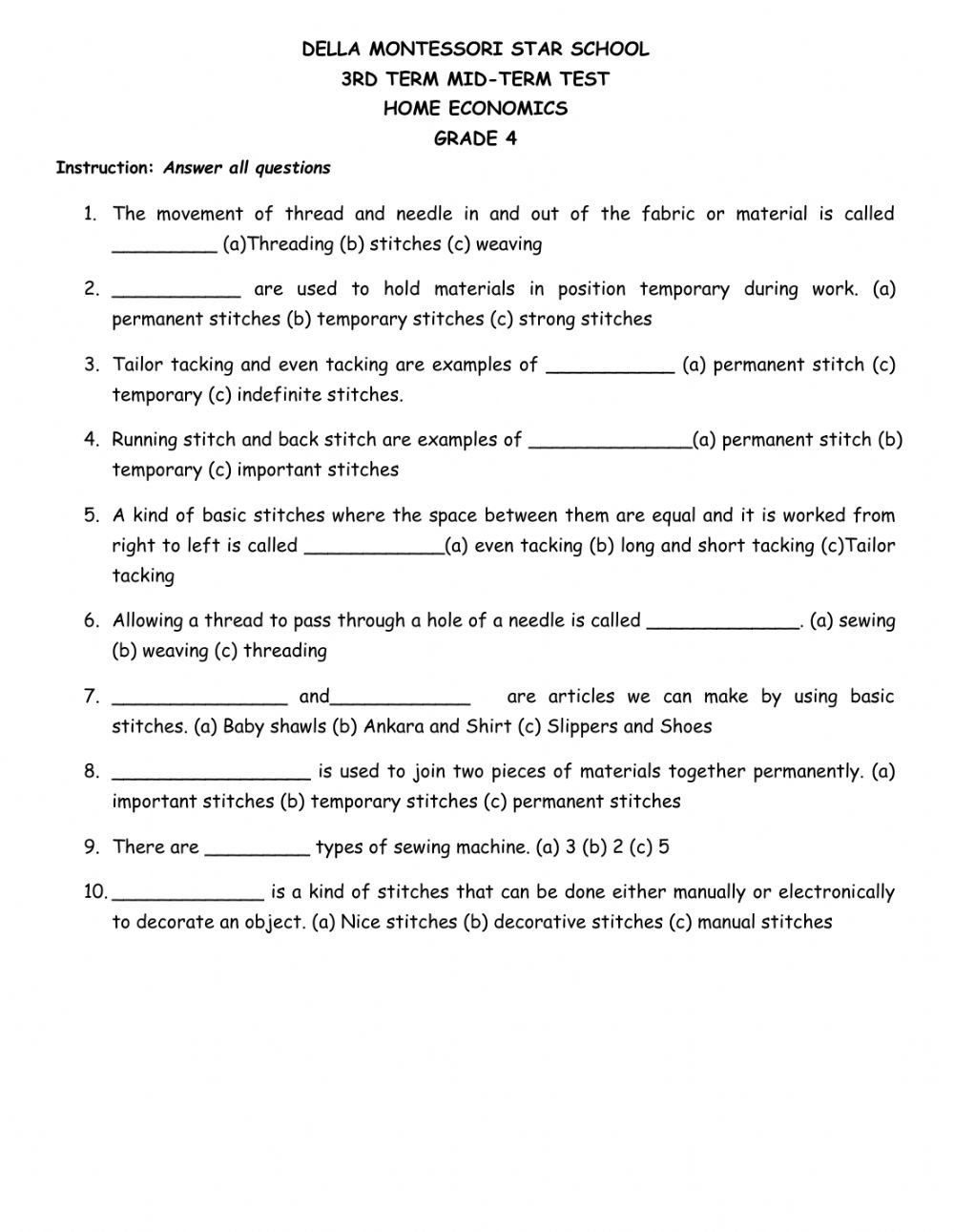 Home Economics Worksheets Grade 4 Home Economics Test Interactive Worksheet