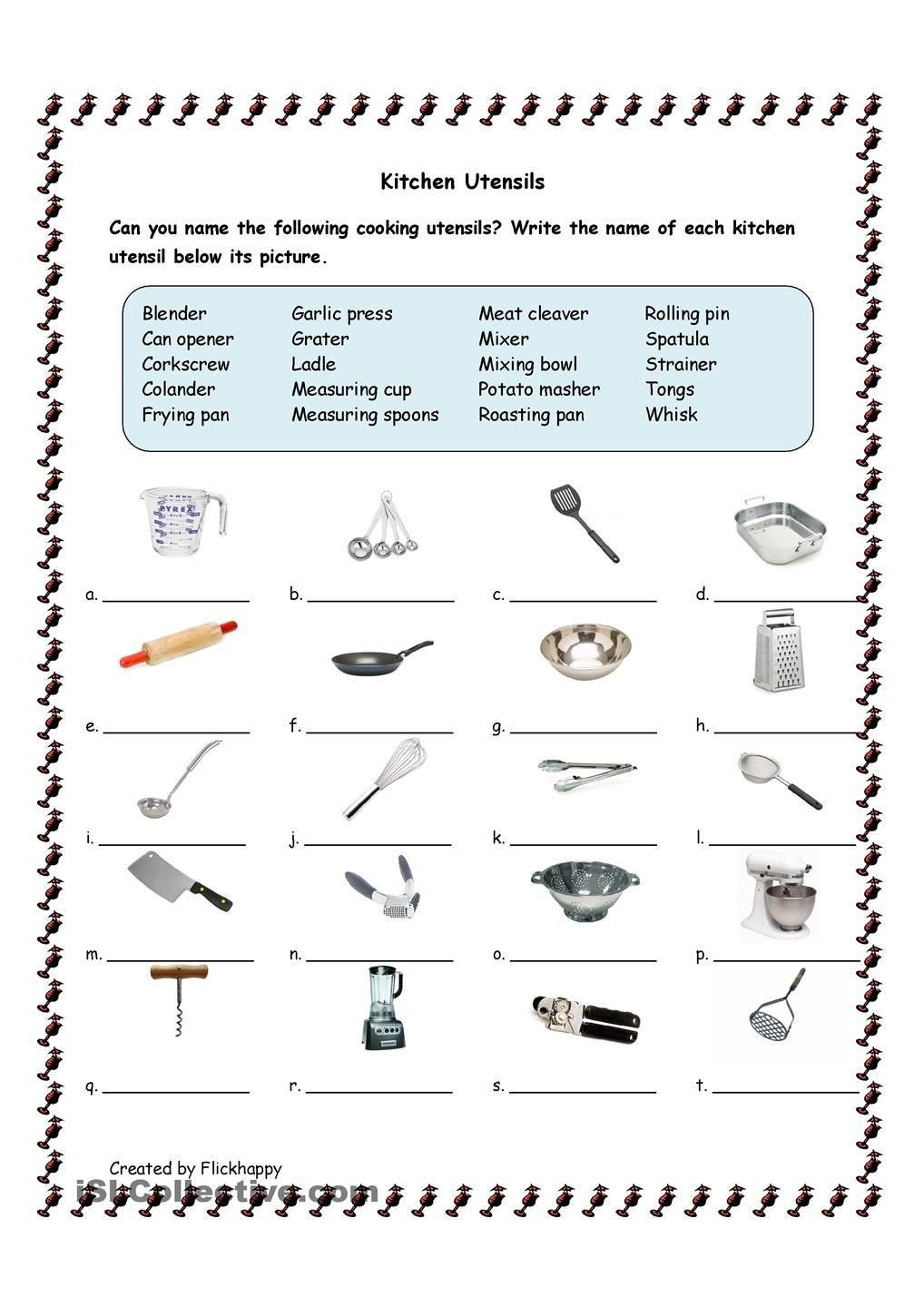 Home Economics Worksheets Kitchen Utensils with Life Skills Classroom Cooking