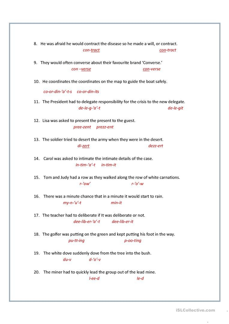 Homograph Worksheet 5th Grade 8 Printable Homographs Examples Pdf