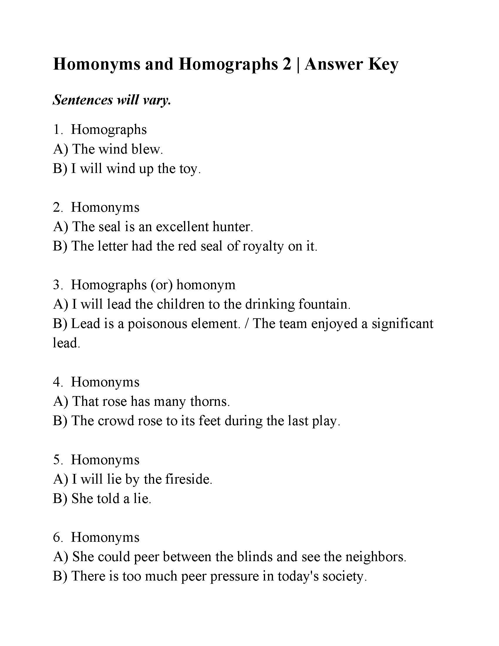 Homograph Worksheet 5th Grade Grammar Worksheet Homonyms