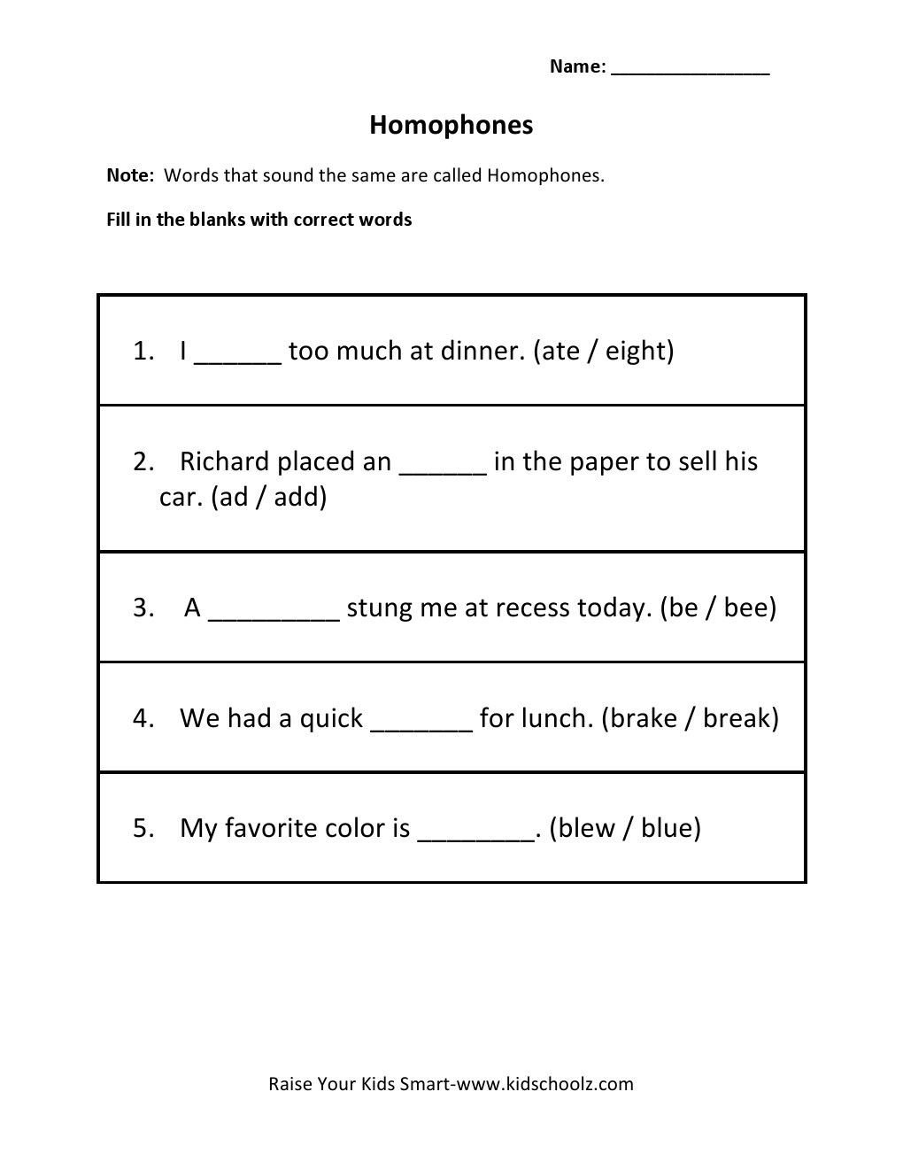 Homophones Worksheets 2nd Grade Homophones Worksheets for Grade 5