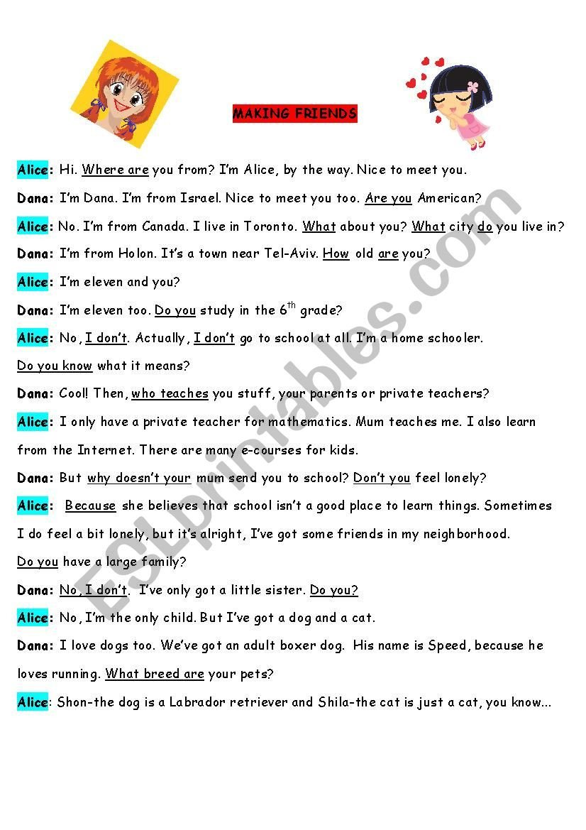 How to Make Friends Worksheet How to Make Friends Esl Worksheet by Chud